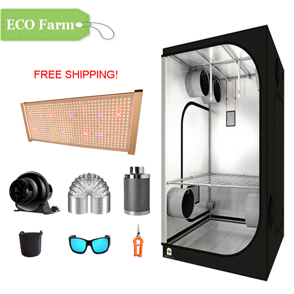 ECO Farm 3.3'x3.3' Essential Grow Tent Kit - 240W LM301H Quantum Board-growpackage.com