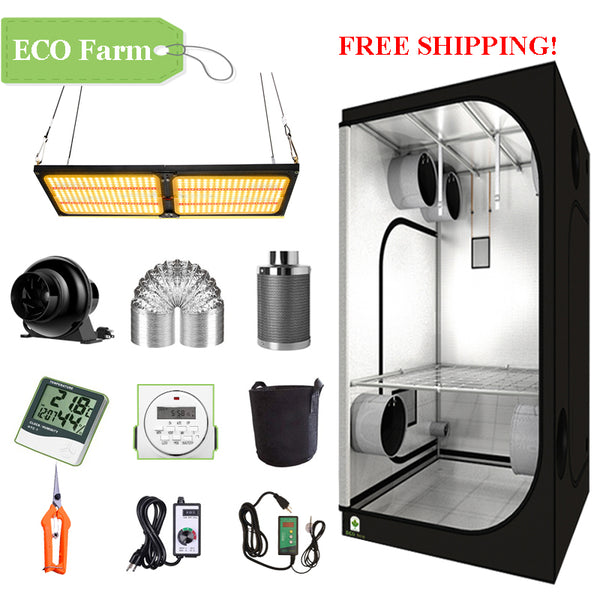 ECO Farm 3'x3' Complete Grow Tent Kit - 240W LM301B Quantum Board-growpackage.com