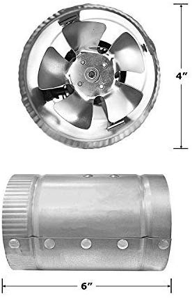 "iPower GLFANXBOOSTER4 4 Inch 100 CFM Booster Fan Inline Duct Vent Blower for HVAC Exhaust and Intake 5.5' Grounded Power Cord, Low Noise, 4"", Grey"