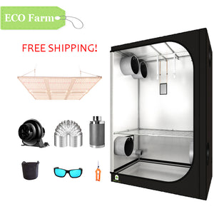 ECO Farm 5'x5' Essential Grow Tent Kit - 600W LM301B Quantum Board-growpackage.com