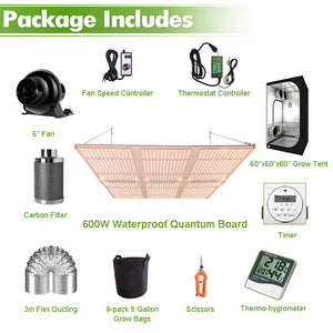 ECO Farm 5'x5' Complete Grow Tent Kit - 600W LM301B Quantum Board-growpackage.com