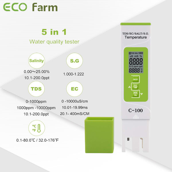 ECO Farm 5 in 1 TDS/EC/Salt/S.G./Temperature Test Meter-growpackage.com
