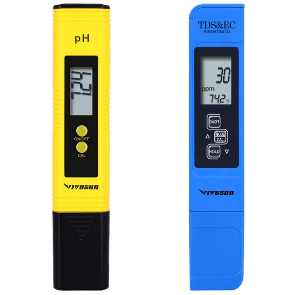 VIVOSUN pH and TDS Meter Combo, 0.05ph High Accuracy Pen Type pH Meter +/- 2% Readout Accuracy 3-in-1 TDS EC Temperature Meter
