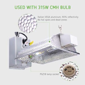 Eco Farm CMH 630W Double Ended Grow Light Reflector Fixture with Ballast