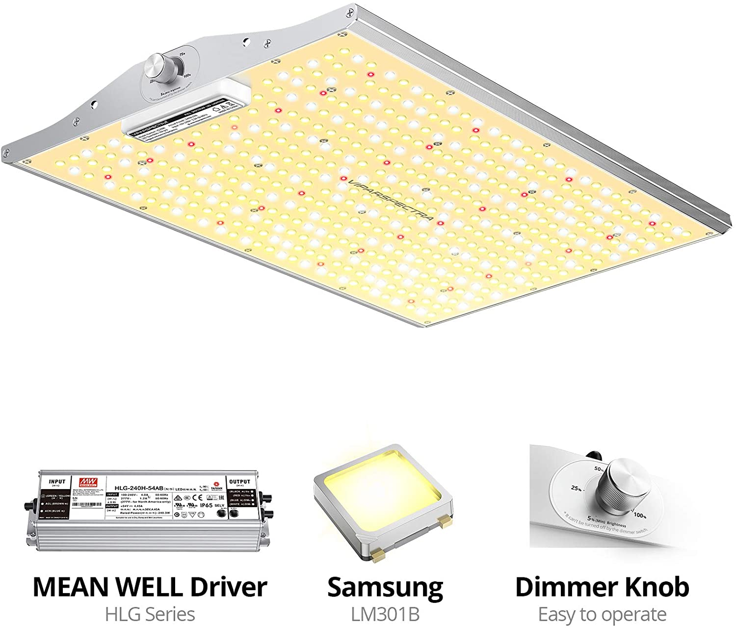 VIPARSPECTRA XS2000 LED Grow Light with Samsung LM301B & MeanWell Driver