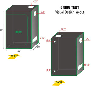 ECO Farm 3*1.7FT(36*20*64inch) Grow Tents - Standard Style-growpackage.com