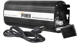 iPower GLBLST1000D Horticulture 1000 Watt Digital Dimmable Electronic Ballast for Hydroponic HPS MH Grow Light, 1000W, Black