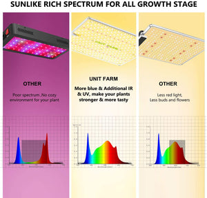 UNIT FARM UFS3000 LED Grow Lights for Indoor Plants OSRAM Diodes Include IR UV