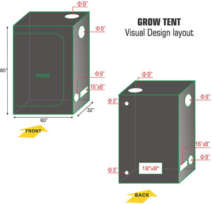 Eco Farm 5.3*2.7FT(64*32*72inch) Grow Tents - Standard Style