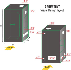 Eco Farm 5x5FT(60*60*80inch) Hydroponic Indoor Grow Tent