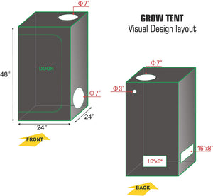 Eco Farm 2*2FT(24*24*55inch) Hydroponic Indoor Grow Tent
