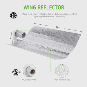 VIVOSUN 400 Watt HPS Grow Light Gull Wing Reflector Kit - Easy to Set up