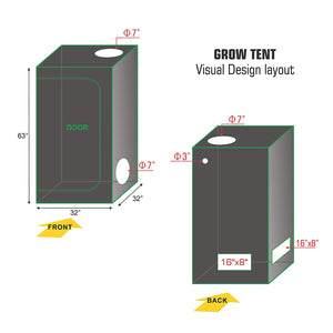 ECO Farm 2.7x2.7FT(32*32*63inch) Hydroponic Indoor Grow Tent-growpackage.com