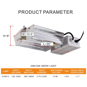 Eco Farm CMH 630W Double Ended Grow Light Fixture  Open Adjust Kit