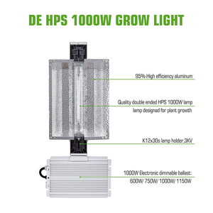 ECO FARM 1000W Double Ended HPS MH Grow Light Enclosed Kit