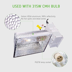 VIVOSUN 315W Ceramic Metal Halide CMH/CDM Grow Light Fixture w/No Bulb, ETL Listed, High-Reflectivity Vega Aluminum Hood, 120/240V Ballast, Full-Spectrum Hydroponic Grow Light and Suspension System
