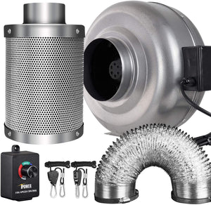 iPower Inline Fan Carbon Filter Ducting Combo