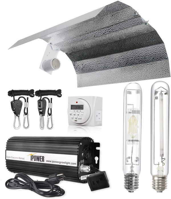 iPower 400 Watt HPS MH Digital Dimmable Grow Light System Kits Wing Reflector Set with Timer