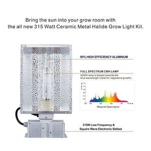 Eco Farm CMH 315W  Grow Light Fixture Reflector Enclosed Kit