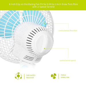 ECO Farm 6 Inch Oscillating Clip Fan with 2 - Speed Control-growpackage.com