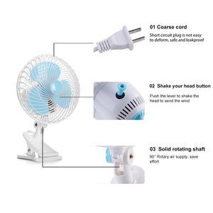 ECO Farm 6 Inch Clip Oscillating Fan Fit for Grow Tent with 3-Speed Control