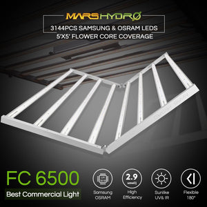 New Mars Hydro FC 6500 650W LED Grow Light with Samsung LM301B Osram Diodes for 6ft×6ft