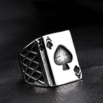 stainless steel men's spades A ring - Car Electronics - RealUSAShop
