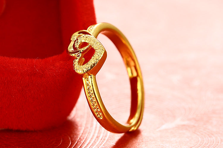 Vietnamese sand retro double heart ring female cross-border open ring - Jewelry & Accessories - RealUSAShop