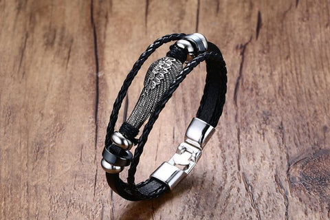 black stone wings men 's hand rope - Jewelry & Accessories - RealUSAShop