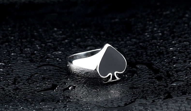 Stainless steel fashion poker spades men's ring - Jewelry & Accessories - RealUSAShop