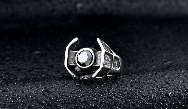stainless steel zircon men's star wars spacecraft ring - Jewelry & Accessories - RealUSAShop