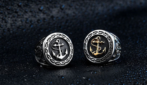 Men's Navy Anchor Nautical Sailor Black 316L Stainless Steel Biker Ring - Bags Sports & Entertainment - RealUSAShop