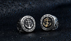 Men's Navy Anchor Nautical Sailor Black 316L Stainless Steel Biker Ring