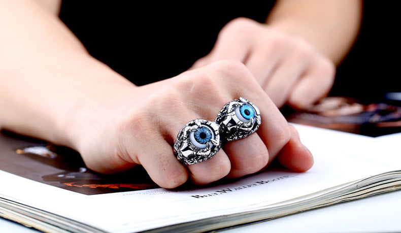 Iron Warrior Hand Stainless Steel Men's Evil Eye Ring - Jewelry & Accessories - RealUSAShop