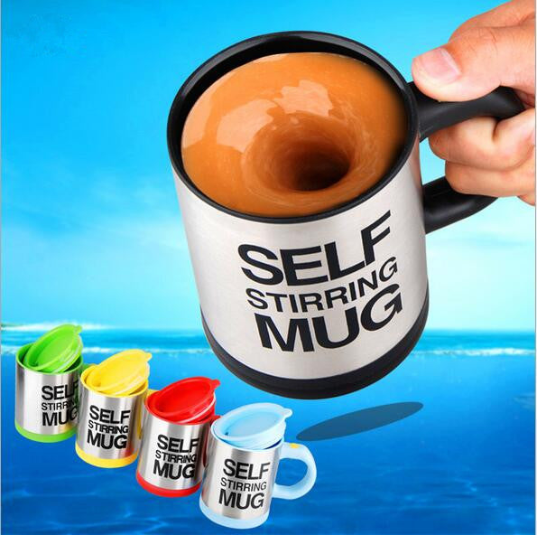 Stainless Steel Self Stirring Electric Coffee Mug - Kitchen & Dining - RealUSAShop