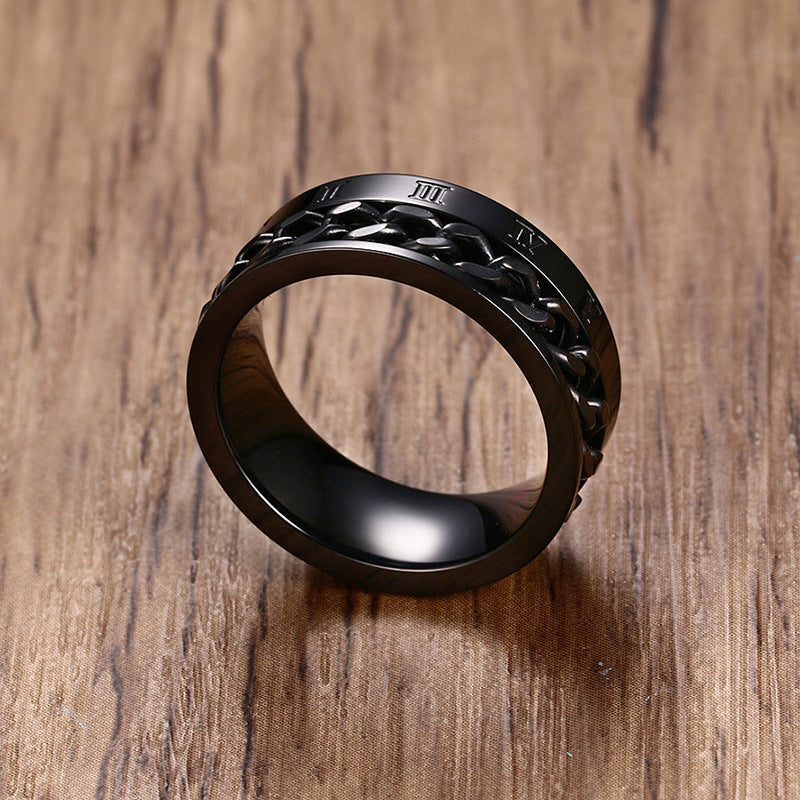 Stainless steel Roman numeral men's ring - Jewelry & Accessories - RealUSAShop