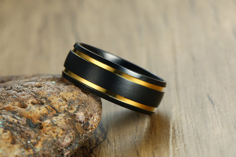 wind stainless steel black yellow men's ring - Jewelry & Accessories - RealUSAShop