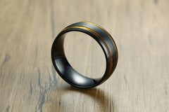 wind stainless steel black yellow men's ring