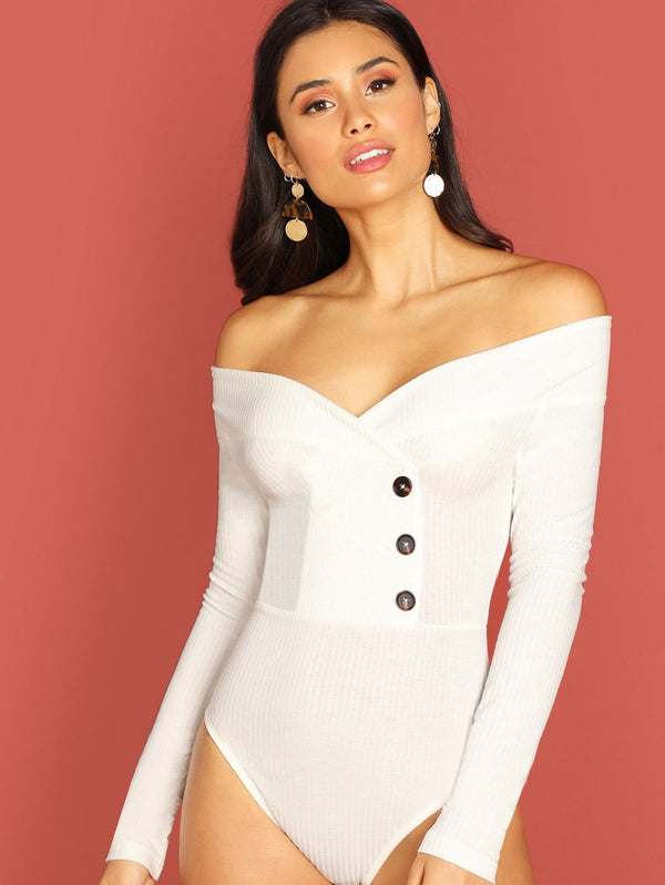 Off Shoulder Button Ribbed Knit Bodysuit
