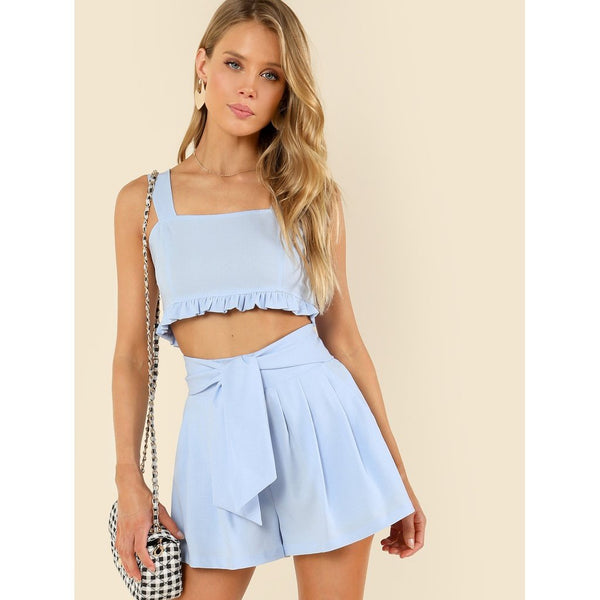 Thick Strap Frill Hem Top & Boxed Pleated Shorts Set