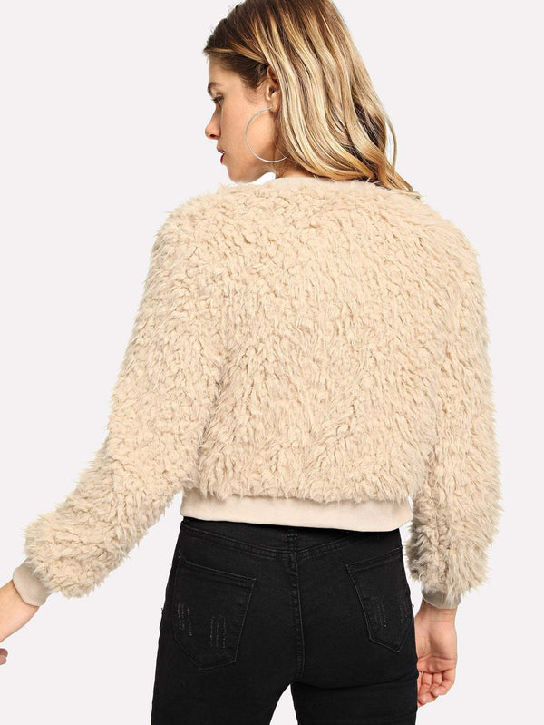 Zip Up Faux Fur Teddy Jacket - Salted Seagull