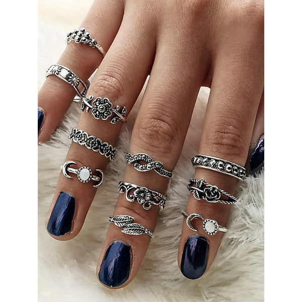 At-Silver 11Pcs/Set Moon Flower Leaf Jewelry Rings