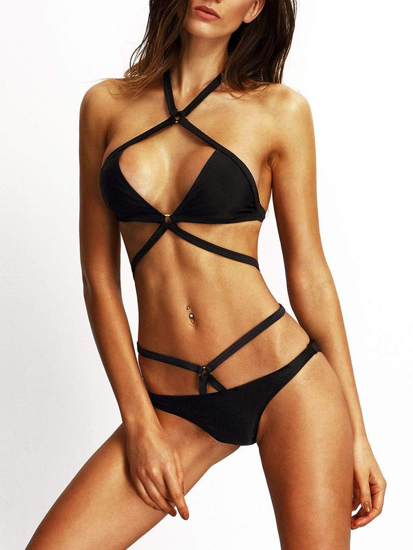 Strappy Ring Accent Sexy Bikini - Salted Seagull