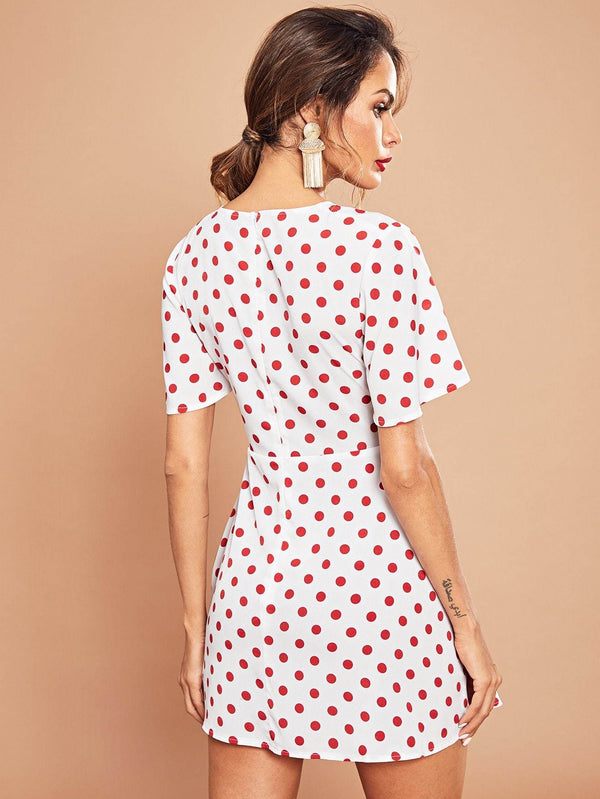Shirred Drawstring Cut Out Polka Dot Dress