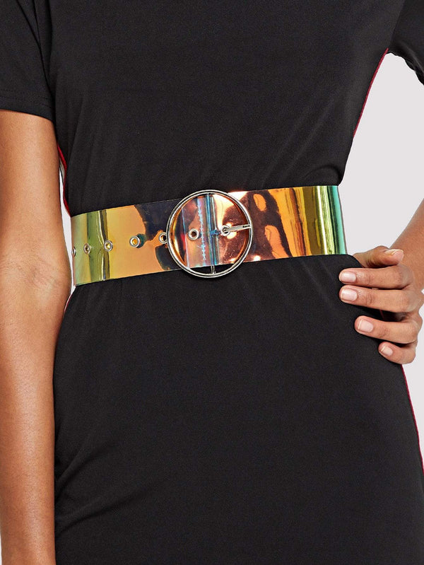 Ring Buckle Iridescent Belt