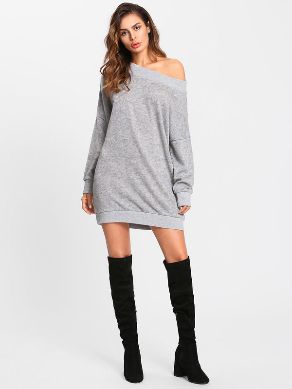 Off Shoulder Marled Knit Sweater Dress - Salted Seagull