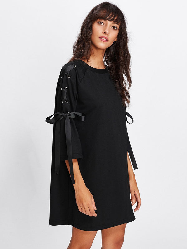 Ribbon Lace Up Raglan Sleeve Marled Tee Dress - Salted Seagull