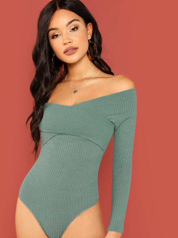 Cross Wrap Front Rib Knit Bardot Bodysuit