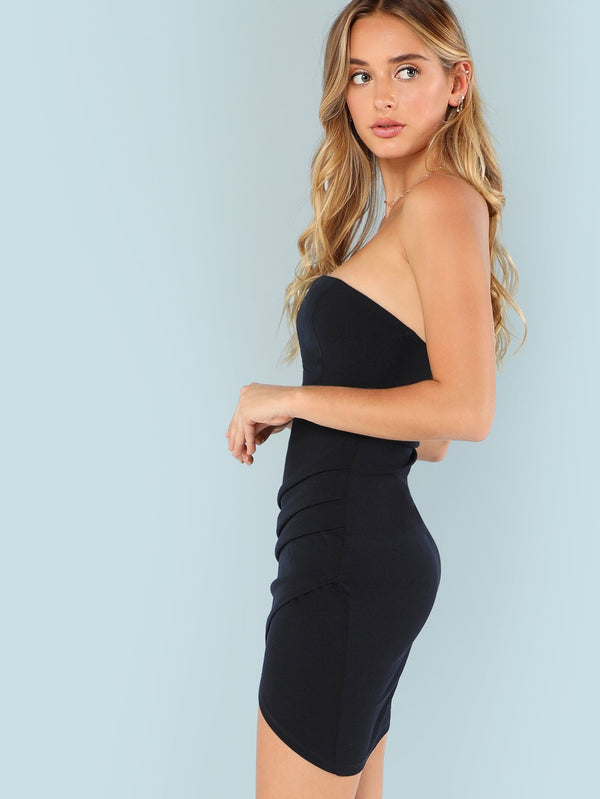 Overlap Asymmetrical Hem Bandeau Dress
