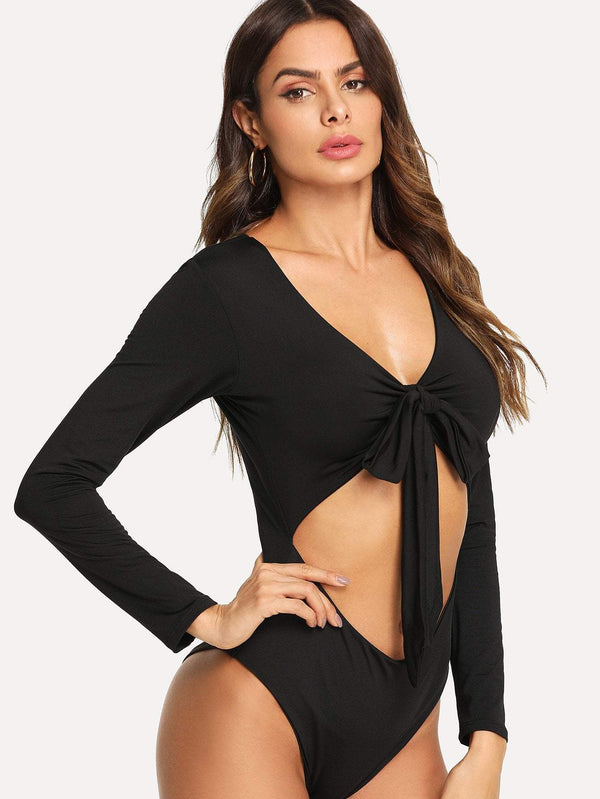 Cut Out Knot Front Bodysuit